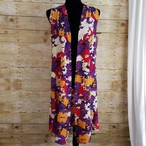 Lularoe Floral Patterned Joy Vest Cardigan, NWT